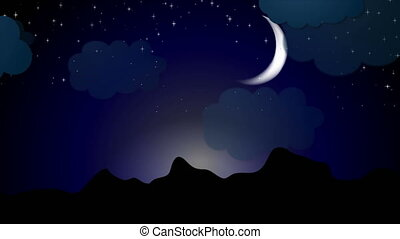 Moonlight night video animation with clouds and stars
