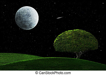 Moonlight Night With Solitary Tree - Full moon in a starry...