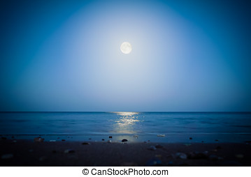 Moonlight on the sea - Full moon and moonlight on the sea at...