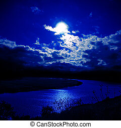 moonlight over river
