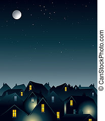 an illustration of a full moon over the rooftops of a city