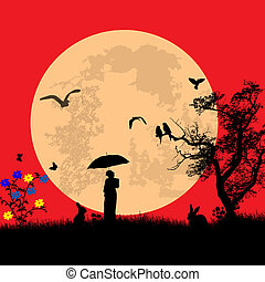 Moonlight over the landscape with rabbits and a woman under umbrella on red, vector illustration