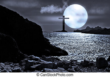 moonlight seascape with a cross protecting the bay