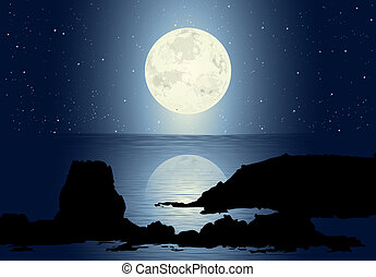 Seascape with rocks and full moon with stars