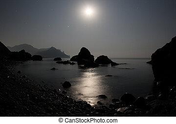 moonlight shines on the sea