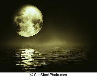 moonlight - moon over the sea - night landscape