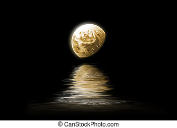 Moonlight - the moon is reflected in the water - night...
