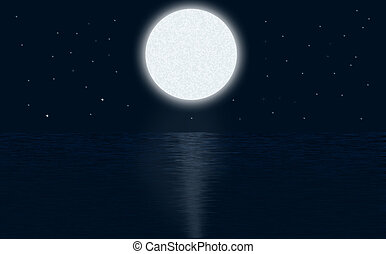 Illustration of the sea or ocean, with the moonlight.