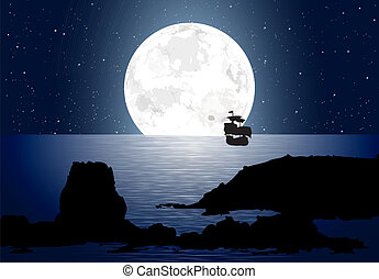 Moonlight With Sailboat - Big moon over the ocean along with...
