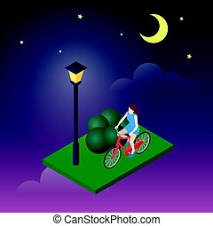 Moonligt night in park. Female cyclist riding on a bicycle. Flat 3d isometric vector illustration