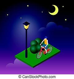 Moonligt night in park. Male cyclist riding on a bicycle. Flat 3d isometric vector illustration