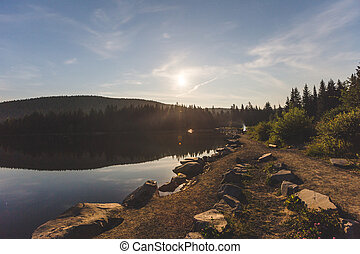 moonlit, 明亮的天空, 湖, trillium