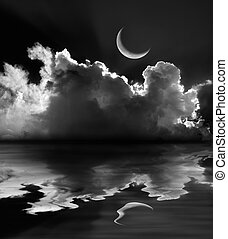 Moonlit fluffy clouds and crescent moon reflection