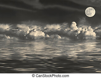Abstract of a stormy night sky with cumulus clouds and a golden full moon on the spring equinox, reflected over water.