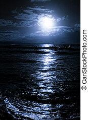 moonrise, 上に, 浜