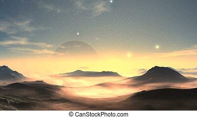 Moonrise And Sunrise On An Alien Planet