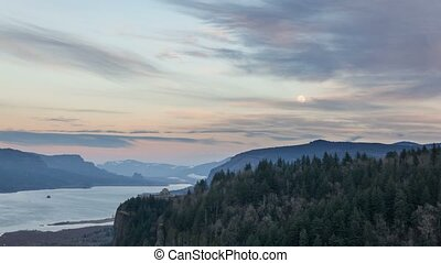 Moonrise and Sunset Portland Oregon