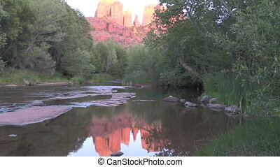 Moonrise at Red Rock Crossing - the moonrise over cathedral...