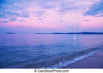 moonrise, aus, schwarzes meer