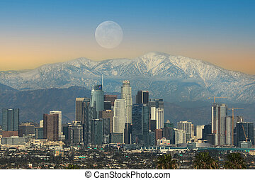 Los Angeles City at Moonrise Against the Snow Capped San Gabriel Mountains