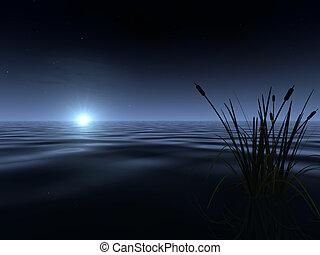 moonrise, lago