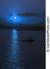 Moonrise over Athens Harbor with tug boat manouvering into ...