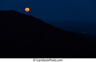 Moonrise over the Appalachian Mountains from Bearfence...