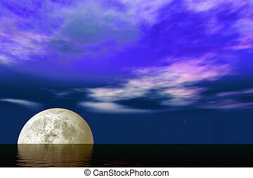 Moonrise over the ocean with glittering waves over a purple dark blue sky and shining stars.