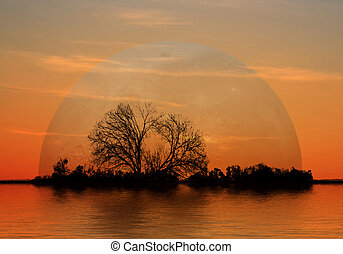 Moonrise - This image shows a moonrise at evening
