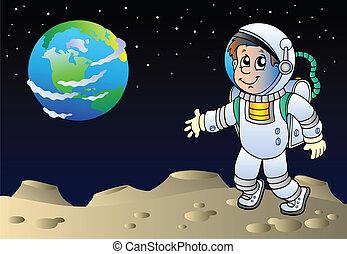 Moonscape with cartoon astronaut - vector illustration.