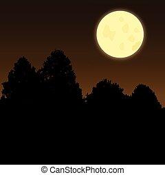 moonscene twilight - Silhouette of trees on a dark night...