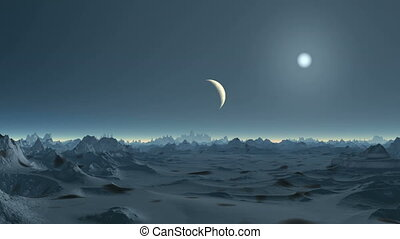 Moonset on Alien Planet - The bright sun in the dark sky...