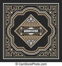 moonshine, cadre, vieux, conception, étiquette
