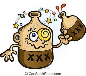 Moonshine Cartoon Character Drinking - A bottle of moonshine...