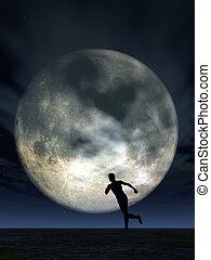 moonshine runner - jogging man and full moon - 3d...