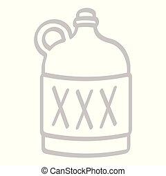 moonshine, vecteur, bouteille, icône