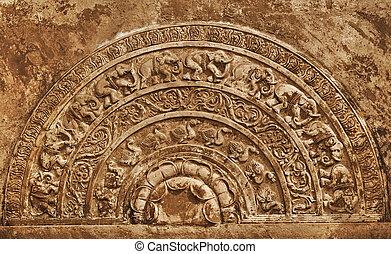Moonstone. Sri Lanka - Large moonstone at the foot of the...