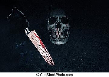 moordenaar, bloedig, mes