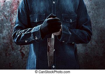 moordenaar, mes, bloedig