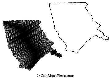 Moore County, North Carolina State (U.S. county, United States of America, USA, U.S., US) map vector illustration, scribble sketch Moore map
