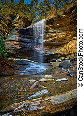 Moore Cove Waterfall in Pisgah National Forest near Brevard NC.