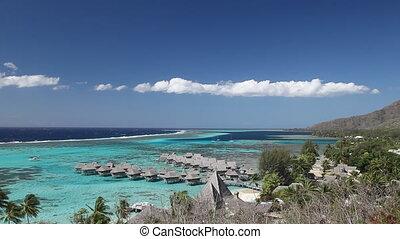 Moorea - Beach, Resort and Lagoon of Moorea Island in French...