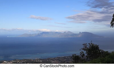 Moorea View - View high above from Tahiti to Moorea Island...