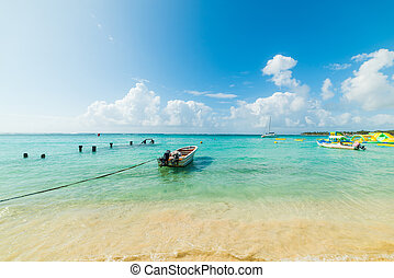 Moored boat in Sainte Anne beach in Guadeloupe island, French west indies. Lesser Antilles, Caribbean sea