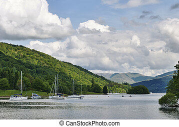 Moored boats on Windermere, in the English Lake District National Park