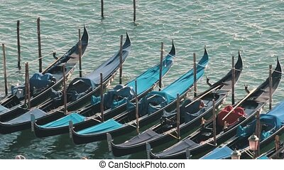 Moored empty gondolas floating in the port. Daylight. View...