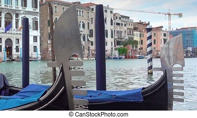 Moored gondolas in Venice - Moored gondolas on The Grand...