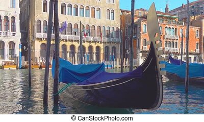 The Grand Canal in Venice - Moored gondolas on The Grand...