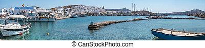 moored, haven, panorama, mykonos, bootjes, aanzicht