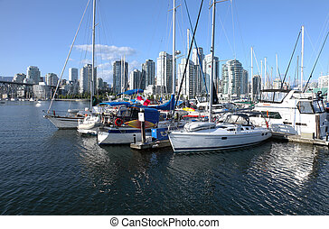moored, kreek, sailboats., bc., vancouver, vals